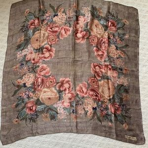 Vintage Ralph Lauren Astor Floral Glen Plaid Scarf